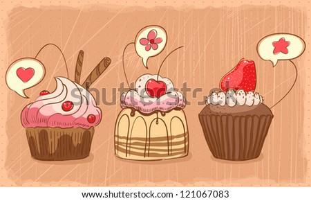 three lovely muffins on orange shabby backdrop. vector illustration - stock vector