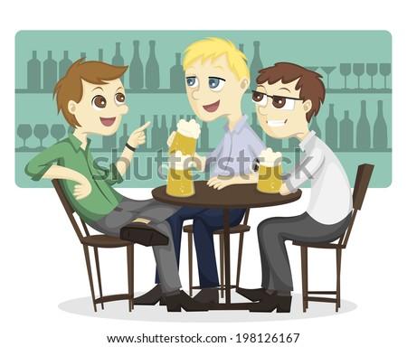 Three male employee enjoy drinking beer on a bar - stock vector