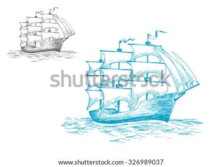 Three masted old wooden schooner or tall ship under full sail on the ocean, sketch image - stock vector