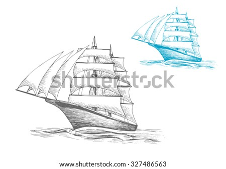 Three masted sailing ship or barque with masts under sails in rippling sea, for nautical, adventure or travel themes - stock vector