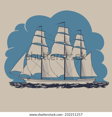 Three-masted sailing ship traveling in the sea and having tour to distant lands and countries vector illustration - stock vector