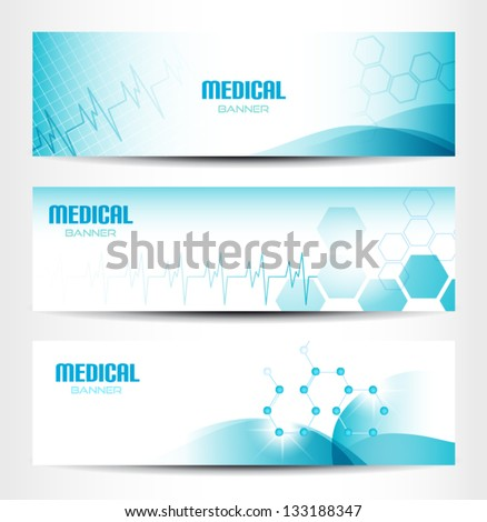 Three Medical Banners For Web Or Print - stock vector