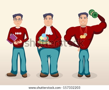 three men - stock vector