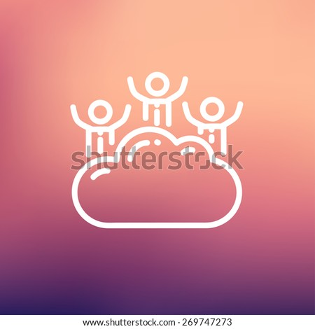 Three men on a cloud icon thin line for web and mobile, modern minimalistic flat design. Vector white icon on gradient mesh background. - stock vector