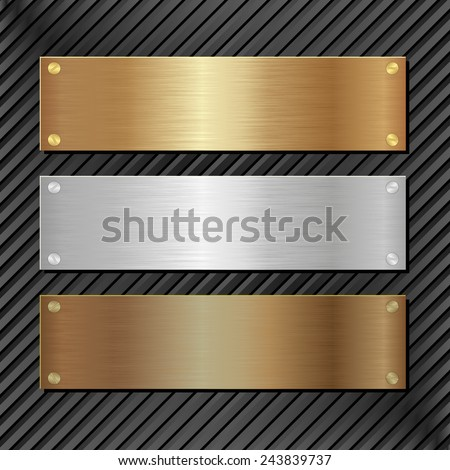 three metallic banners on black background - stock vector