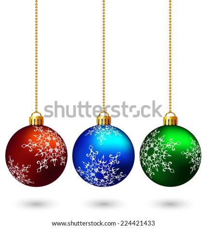 Three multicolored christmas balls hang on the chain isolated on white background - stock vector