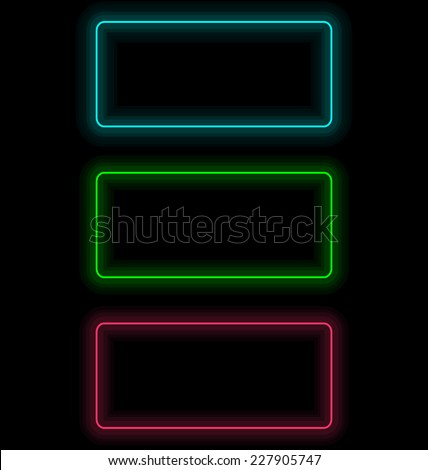Three multicolored self-illuminated frames for text isolated on black - stock vector
