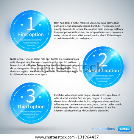 Three numbered circles with different options and descriptions. - stock vector
