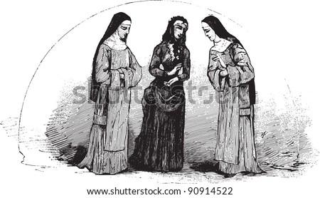 "Three nuns - Vintage illustration / illustration from book ""La petite soeur par Hector Malot"" 1882, France - stock vector"