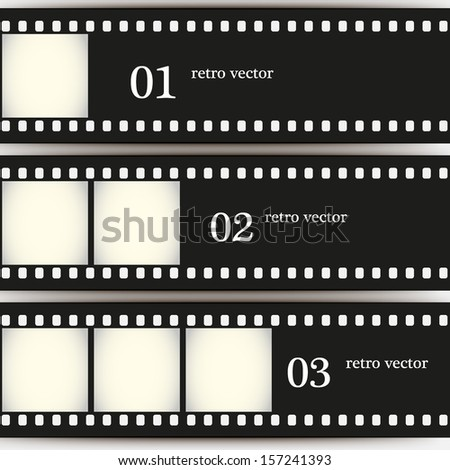 Three old film. Vector background EPS10 - stock vector