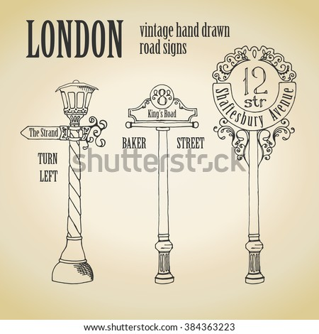 Three old signpost with patterned hammering, one at a street lamp - stock vector