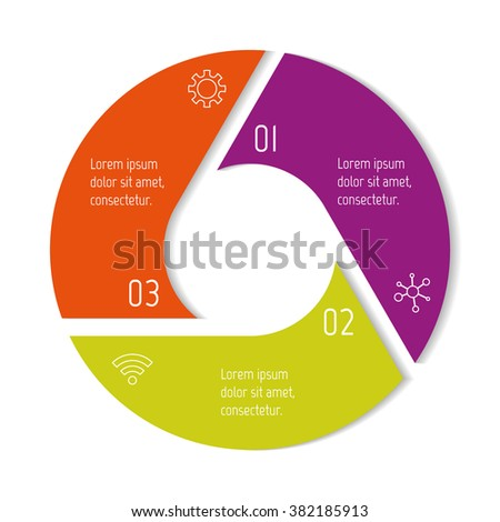 Three options isolated infographic banner. Circular workflow layout. Number banner template for diagram, presentation or chart. Round progress steps for tutorial. Business concept sequence banner. - stock vector