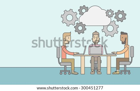 Three outstanding caucasian employees discussing and sharing brilliant ideas, gathering information, preparing for their marketing plan presentation using their laptops. Teamwork concept. A - stock vector