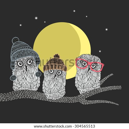 Three owl friends on the tree in the night forest. Birds with warm hats of scandinavian style. Vector illustrations. - stock vector
