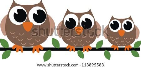 three owls - stock vector