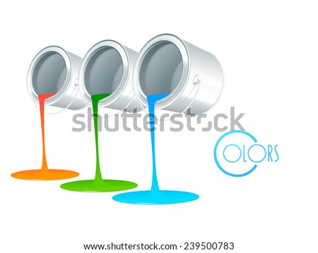 Three paint color pouring out from paint buckets and stylish text of Colors on white background. - stock vector