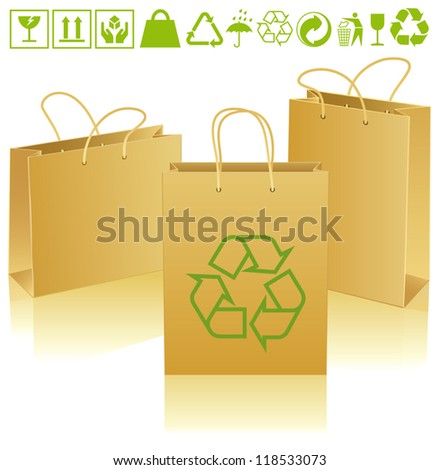 Three paper bags of different sizes and positions with ecological icons - stock vector