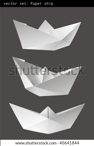 Three paper ships isolated - vector - stock vector