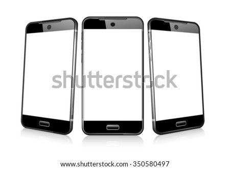 Three Phone Cell Smart Mobile 3D and 2D - stock vector