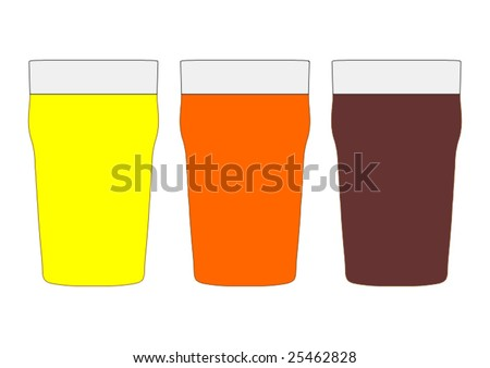 Three pints of British beer including lager, bitter and stout - stock vector