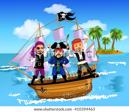 three pirates on a ship in the middle of the ocean - stock vector