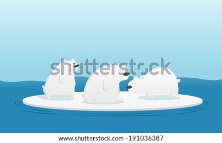 Three polar bears on ice in the sea - stock vector
