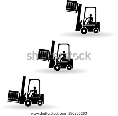 three position of forklift with driver and load vector - stock vector