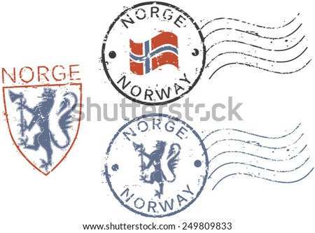 Three postal grunge stamps 'Norway'. English and norwegian inscription. - stock vector