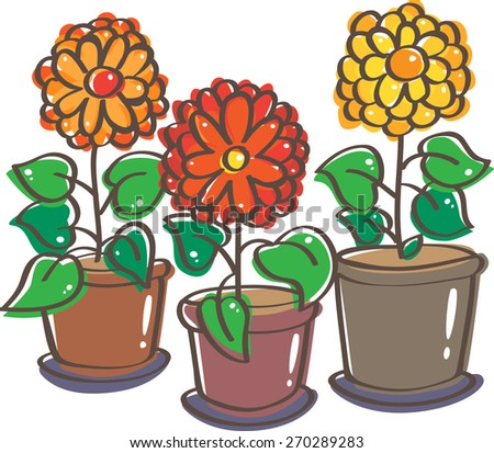 Three pots of blooming flowers - stock vector