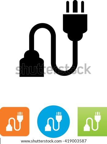 Three pronged power cord symbol. - stock vector