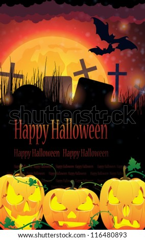 Three pumpkin monsters and a cemetery on a full moon background - stock vector
