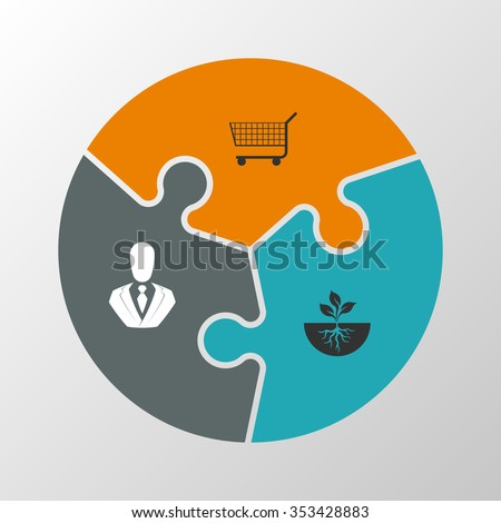 Three puzzle presentation. puzzle icon eps10, puzzle icon illustration, puzzle icon picture, puzzle icon flat, puzzle web icon, puzzle icon art, puzzle icon drawing, puzzle icon, puzzle icon vector - stock vector