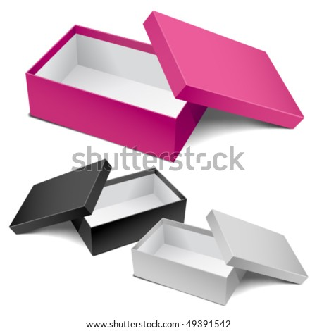 Three realistic empty boxes. Editable vector. - stock vector
