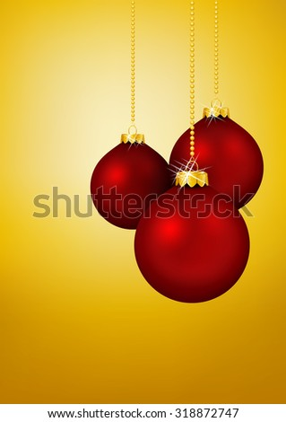 Three Red Christmas Balls hanging in front of Yellow Gold Background - Holiday Season, Greeting Card Template. Xmas, X-Mas - stock vector