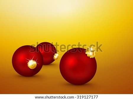 Three Red Christmas Balls lying on the Yellow Gold Background. Holiday Season, Greeting Card Template. Backdrop Template for Xmas, X-Mas - stock vector