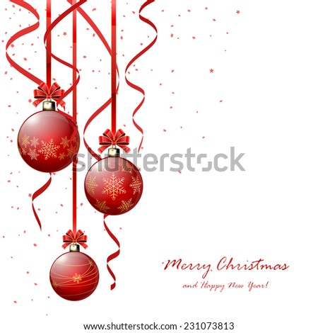 Three red Christmas balls with bow, tinsel and confetti isolated on white background, illustration. - stock vector