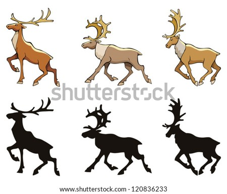 Three reindeer with silhouettes, vector illustration - stock vector