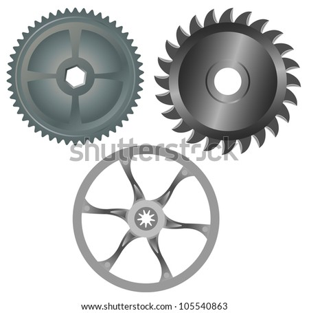 Three round metal gears - stock vector