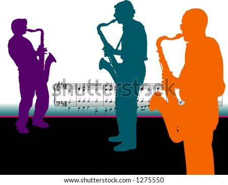 Three Sax Players - stock vector