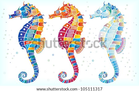 Three seahorses - stock vector