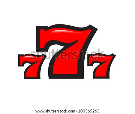 three sevens on a white background - stock vector
