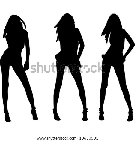 Three sexy girls vectors silhouette - stock vector