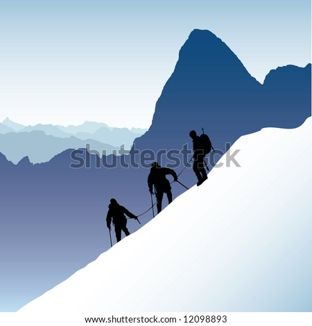 Three silhouetted mountaineers descending a ridge in the French Alps with Mont Blank in the background - stock vector