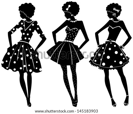 Three silhouettes of pretty women in dresses - stock vector