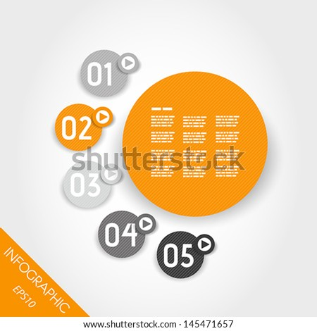three six orange infographic striped rings. infographic concept. - stock vector