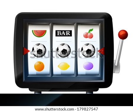three soccer ball items on play machine frame vector illustration - stock vector