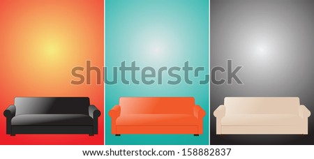 three sofas color vector illustration - stock vector
