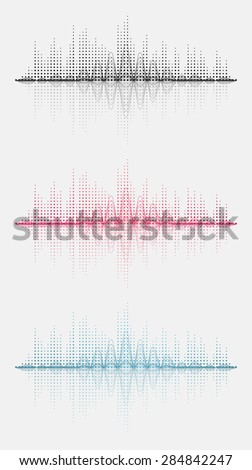 Three sound wave. Vector illustration. Isolated. - stock vector