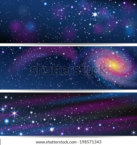 Three Space Backgrounds. EPS 10. Masks were used, so you can move objects and use them separately.  Smartly grouped and layered. - stock vector