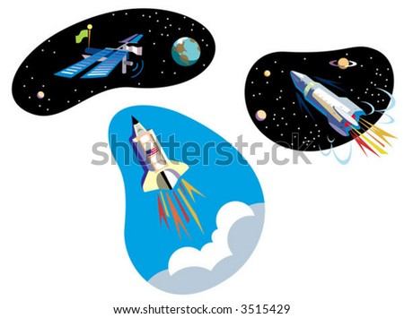 three spaceships: the shuttle, a rocket and the space station - stock vector
